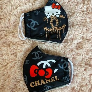 fake Chanel hello kitty black face mask